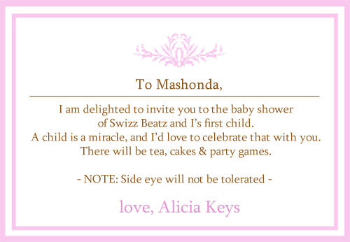 Alicia Keys' baby shower invitation | created by J ;P