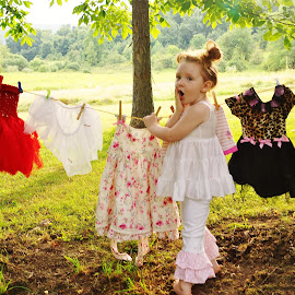 Well I Do Declare! by Cheryl Korotky - Babies & Children Children Candids ( getting caught in undergarments, a heartbeat in time photography, fun picture ideas, child model nevaeh, petticoat, laundry )