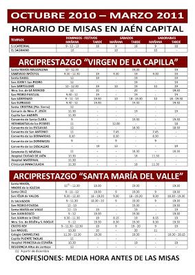 Horario de Misas en la ciudad de Jaén Otoño 2010 / Invierno 2011