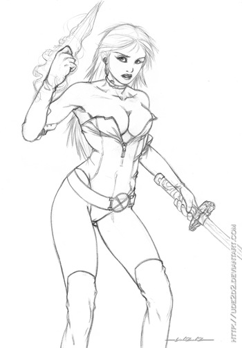 Psylocke, dibujo a lápiz de Mariposa Mental