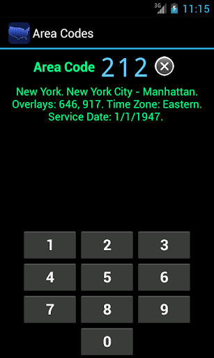 area-codes for android screenshot