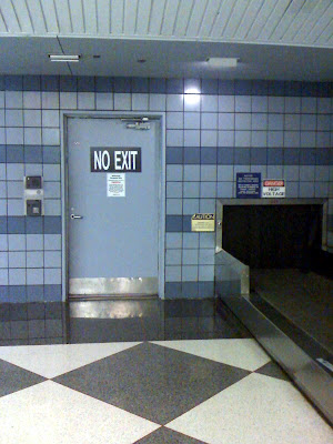 No Exit sign from baggage claim at O'Hare airport.