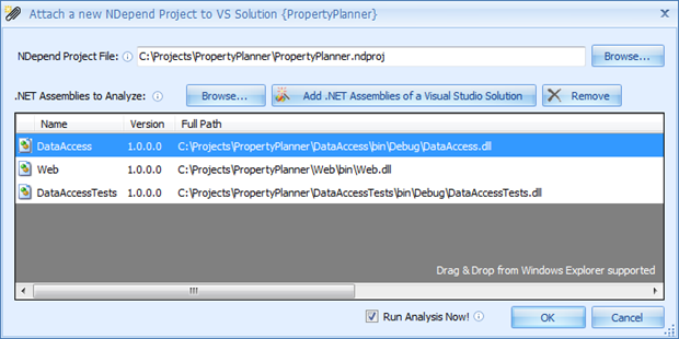 Selecting projects for analysis