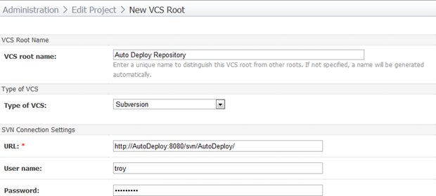 New VCS Root configuration in TeamCity