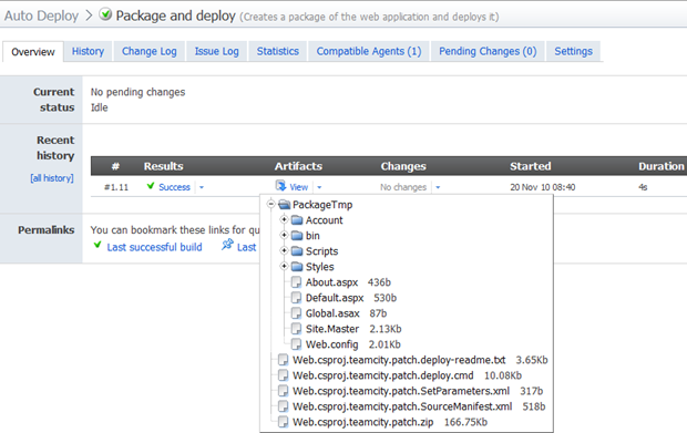 Success run of the package and deploy build including artifacts