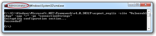 Successful output of Web.config encryption