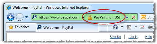 Internet Explorer showing the presence of PayPal SSL