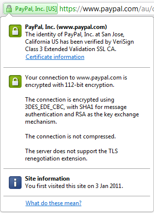 Details of an SSL certificate