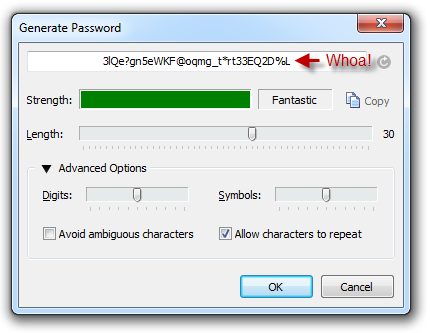 1Password generated strong password