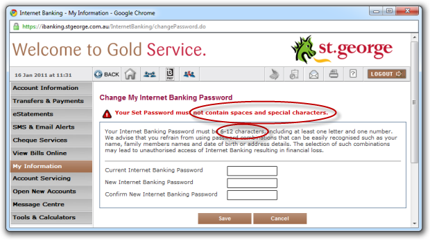 St. George bank not allowing spaces or special characters in the password
