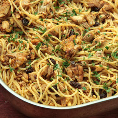 Pasta with Roasted Chicken, Raisins, Pine Nuts, and Parsley