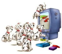 Disney-101-Dalmation-watching-tv