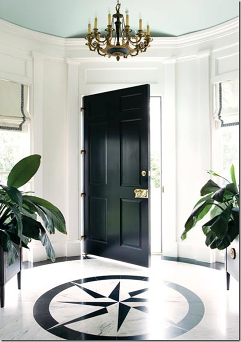 black high gloss atlanta homes magazine foyer black white BM palladium blue ceiling coco cozy