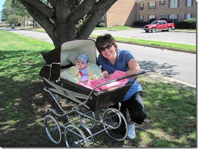 Elaine 20 Weeks Grandma Godby with Pram