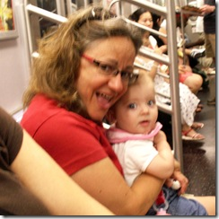 Elaine 7 months First Subway Ride in NYC 4th of July