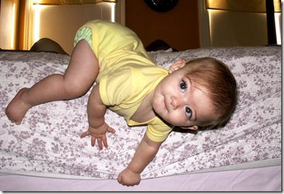 Elaine 8 months falling off the bed