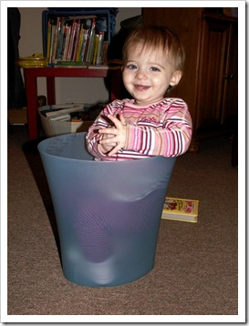 Elaine in the trash can