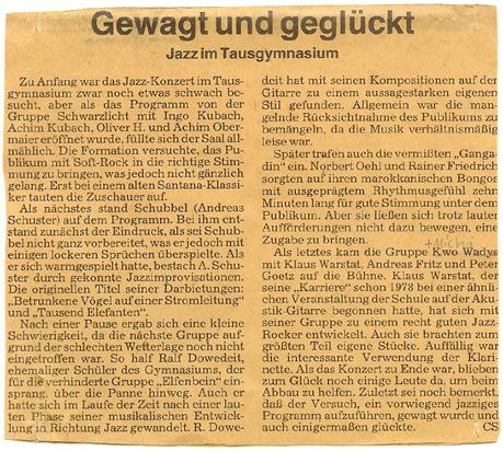 BKZ-Artikel: Kwo Wadys @ Gymnasium in der Taus Backnang