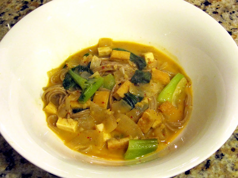 thai red curry soup with tofu and bok choy