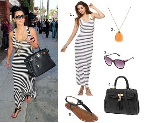 Kim-Kardashian-Look-For-Less-Striped-Dress copy