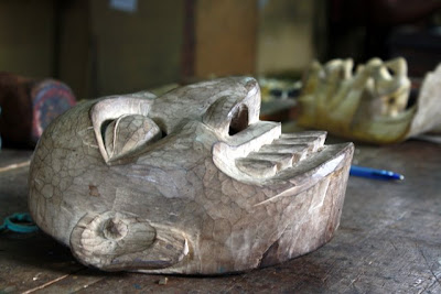 Sri Lankan mask being carved