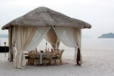 Dining on the beach at the Four Seasons Langkawi