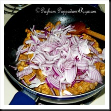 Add ginger garlic green chilly paste followed by onions
