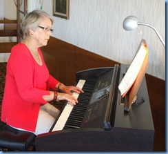 Marlene Forrest, member and President of the Creative Keyboard Club, playing the Clavinova