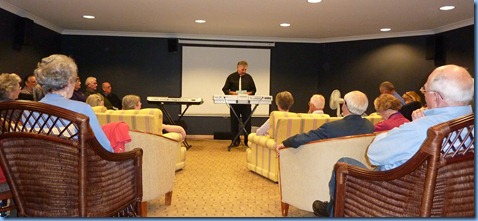 Master Musician and keyboard specialist, John Bercich, presenting the Keyboard Techniques Workshop in the Fairview Village soundproof cinema