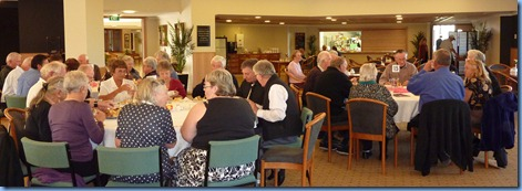 Guests and residents enjoying a specially prepared lunch.