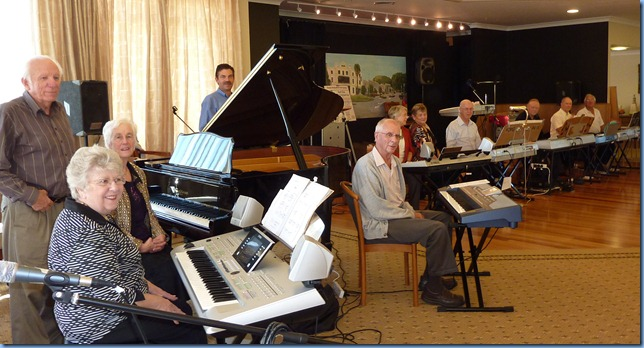 The afternoon concert players. Left to right: Rob Powell; Barbara Powell; Dorothy Waddel; Peter Littlejohn; John Perkin (resident of Fairview Village); Marlene Forrest; Barbara McNab; Peter Brophy; Colin Crann; John Beales; and Skip Eade.