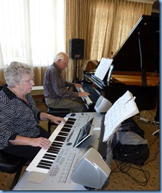 President and Treasurer of the Organ Society of NZ duetted. Rob Powell is President and Barbara Powell is Treasurer.