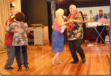 Left: Gordon Sutherland and Joy Eade with residents on the right and the band played on!