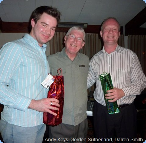 President, Gordon Sutherland (centre) thanking Andy Keys (left) and Darren Smith (right) for a fantastic Concert. Photo courtesy of Club Secretary, Colleen Kerr.