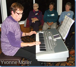 New member, Yvonne Moller, playing her lovely Korg Pa1X