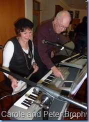 Carole Littlejohn played some duets with Peter Brophy. Carole does not own a Korg Pa1X and so Peter was here helping her to set-up the keyboard
