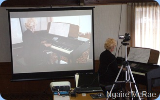 The Club's new Video Projector was a big success! Here we see Ngaire McRae playing the Clavinova CVP-509