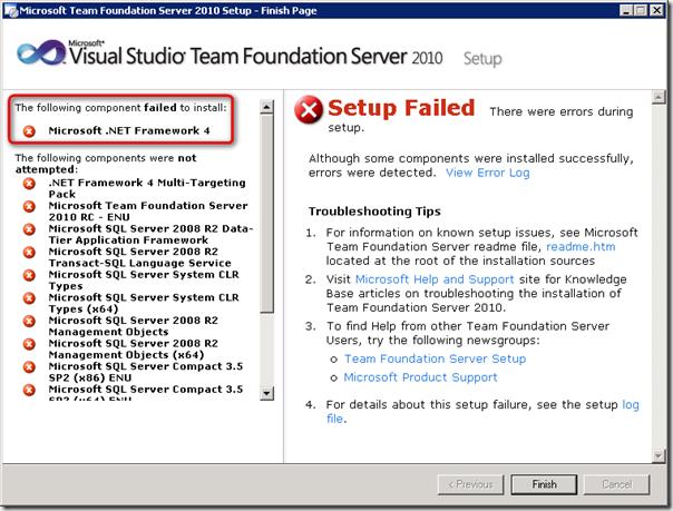 TFS 2010 Setup Error