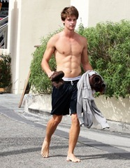 Maria Shiver and her son Patrick Schwarzenegger leave sweaty after Yoga class in Brentwood  on Saturday,  October 2, 2010. X17online.com exclusive