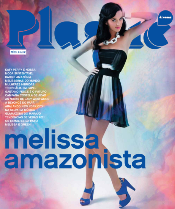 Mais uma vez, Katy Perry: Cantora  capa da Plastic Dreams, revista da Sandlia Melissa