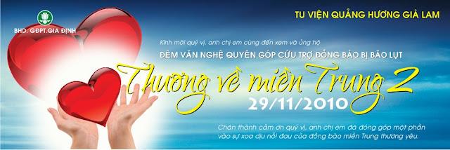 Banner đêm trình diễn văn nghệ THƯƠNG VỀ MIỀN TRUNG của GĐPT Gia Định