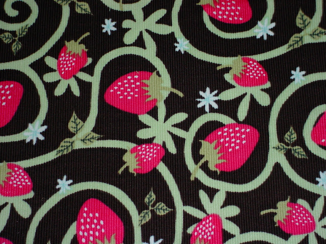Strawberries on Chocolate Corduroy