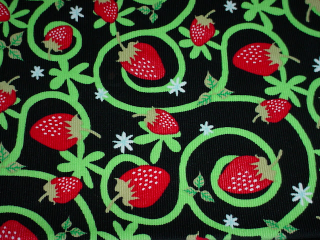 Strawberries on Black Corduroy