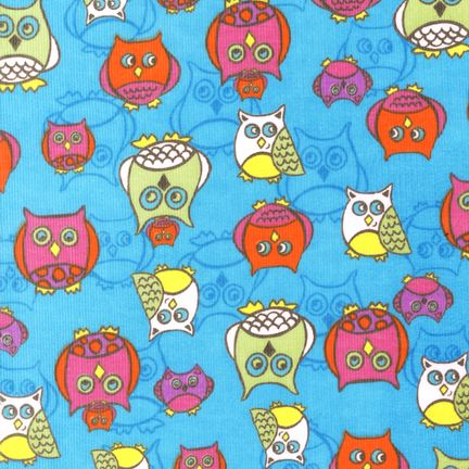 Owls on Blue Corduroy LESS THAN A YARD