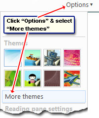 The new themes available in Windows Live Hotmail from More themes option