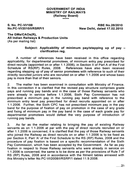 RBE No 28/2010 Applicability of minimum pay/stepping up of pay-clarification reg.