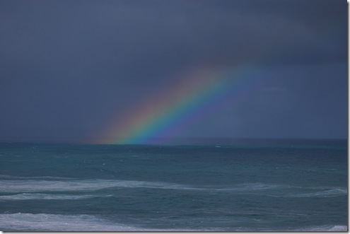 rainbow over sea
