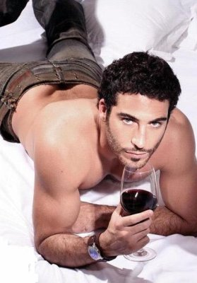 Hot A Sey Man Drinking Wine