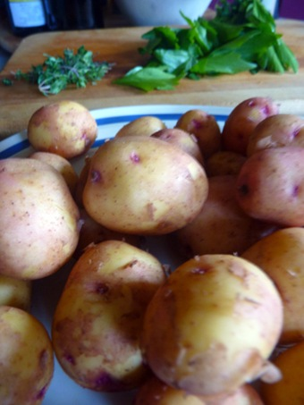 Potatoes with lovage and thyme