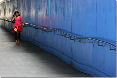 Blue wall and handrail, Darling Harbor, Sydney